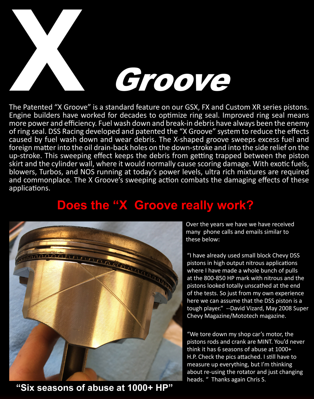 dss racing piston skirt X groove explained